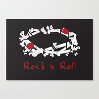rock n roll Canvas Prints featuring Rock 'N Roll by Estaschia Cossadianos