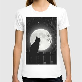 Silent Night Cat and full moon T-shirt