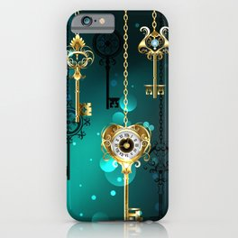 Antique Keys on Green Background ( Steampunk ) iPhone Case
