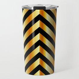 High grade raw material golden and black zigzag stripes Travel Mug