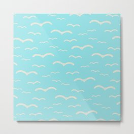 Beach Series Aqua - Sea Gulls Birds in the blue Sky Metal Print