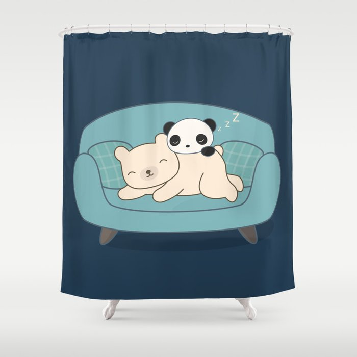 Kawaii Lazy Panda And Polar Bear Shower Curtain