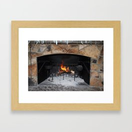 Warm And Cozy Fireplace Framed Art Print