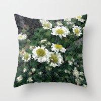 pushing daisies Throw Pillows featuring Pushing Daisies  by Little Krampus