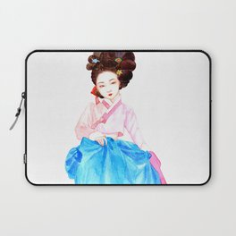 Watercolor Korean beauty - Pink&Blue Laptop Sleeve