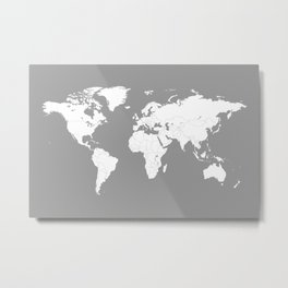 Minimalist World Map in Grey Metal Print