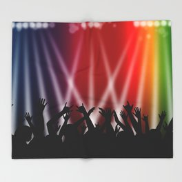 Dancing Crowd With Multi Colour and White Spotlights Throw Blanket