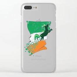 Unicorn Distressed Irish Flag St Patricks Clear iPhone Case