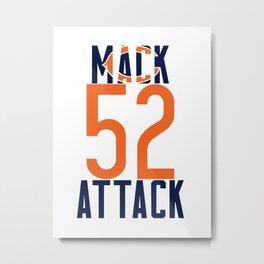 Khalil Mack 52 Bears Footbal Metal Print