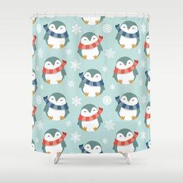Winter penguins pattern Shower Curtain