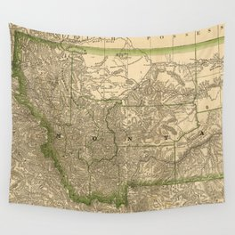 Vintage Map of Montana (1881) Wall Tapestry