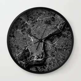 Philadelphia Black Map Wall Clock