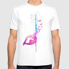 watercolor pole dance 2 White MEDIUM Mens Fitted Tee