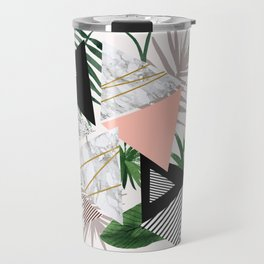 Abstract of geometric patterns with plants and marble Travel Mug