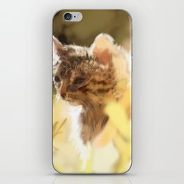 Kitty in a field on a warm spring day iPhone Skin