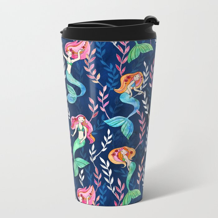 Merry Mermaids in Watercolor Travel Mug