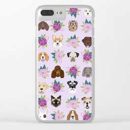 Dogs and cats pet friendly floral animal lover gifts dog breeds cat person Clear iPhone Case