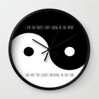 yin yang Wall Clocks featuring Yin Yang by Sara Eshak