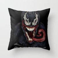 venom Throw Pillows featuring venom by Fila Venom Art