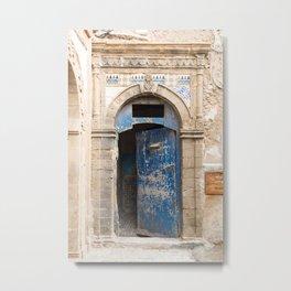 Ancient Blue Tiled Moroccan Door Metal Print