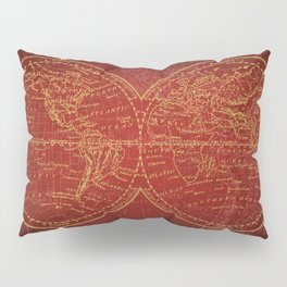 Antique Navigation World Map in Red and Gold Pillow Sham