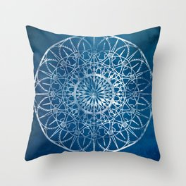 Fire Blossom - Blue Throw Pillow