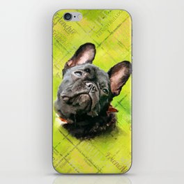 Cute French Bulldog - Frenchie with word pattern iPhone Skin