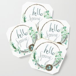 Hello Spring Eucalyptus Wreath with Nest Coaster