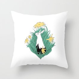 Muddy Bunny Throw Pillow