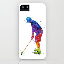 Boy Golf Player 2 Beautiful Colorful Waterolor Art iPhone Case