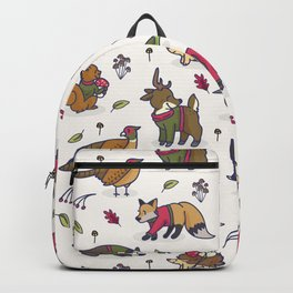 Cute woodland animal cartoon seamless pattern Backpack