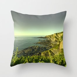 North Devon Coastscape Throw Pillow