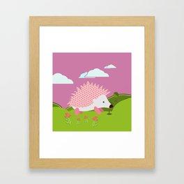Hedgehog , Purple , flowers , nursery decor Framed Art Print