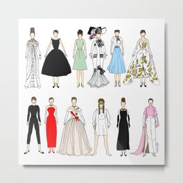 Outfits of Audrey Fashion (White) Metal Print