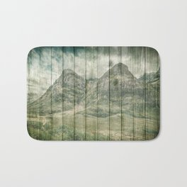 Rustic Country Wood Mountains Landscape Bath Mat