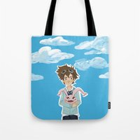 digimon Tote Bags featuring Digimon Tri by lulovera