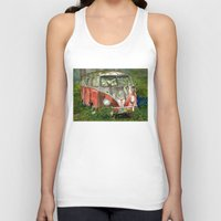 vw bus Tank Tops featuring VW Bus in the Woods by Barb Laskey Studio