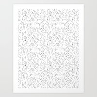 Constellations Pattern in Black Art Print