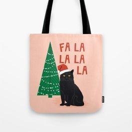 Black Cat cute fa la la christmas xmas tree holiday funny cat art cat lady gift unique pet gifts Tote Bag