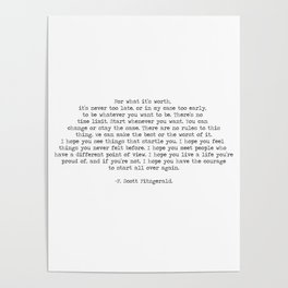 It's Never Too Late- F. Scott Fitzgerald Quote Poster