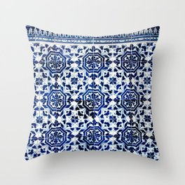 Cobalt Flourish Throw Pillow