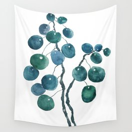 Chinese money plant watercolor Wall Tapestry