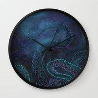 kraken Wall Clocks featuring Kraken by Henri Scribner