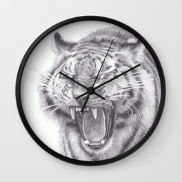 Bengal Tiger Roaring - Big Wild Cat Animal Artwork Drawing Wall Clock