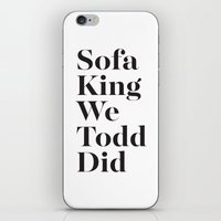 sofa iPhone & iPod Skins featuring Sofa King by Black Sole