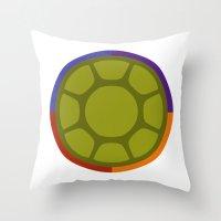 ninja turtle Throw Pillows featuring Ninja Turtle by R. Cuddi