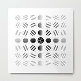Black and White centered lines Metal Print