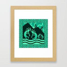 Turquoise And Black Kokopelli Framed Art Print