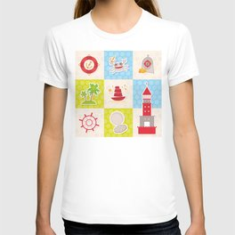 Card pirate design. Cute party invitation colorful background seamless pattern. lighthouse compass T-shirt