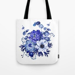 China Blue Porcelain, Asia, Peony, Flower, Floral, Cyan Tote Bag